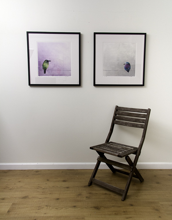 Mr. Green and Mr. Purple - framed limited edition prints with chair