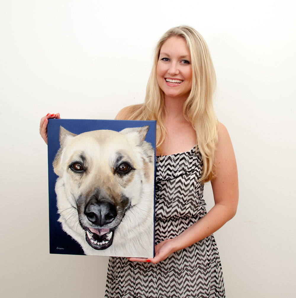 Erica Eriksdotter with the original painting Sasha's Portrait, size 14x18 inches.