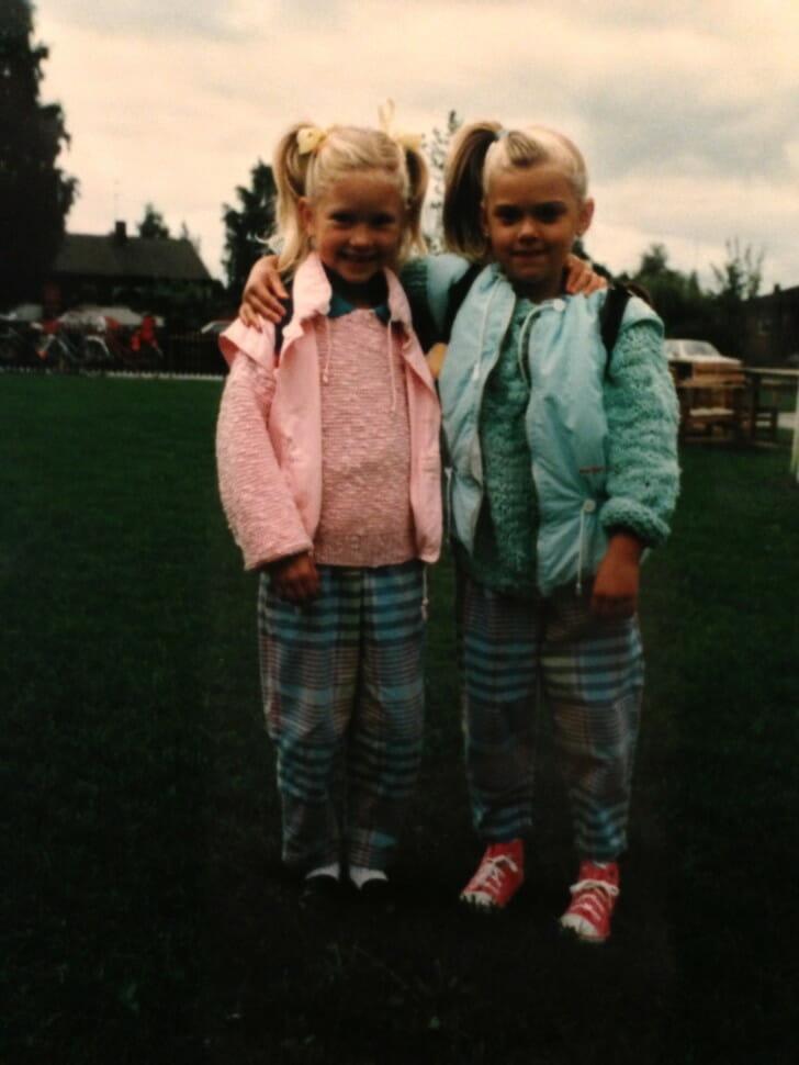 Erica and Maria walking to kindergarten