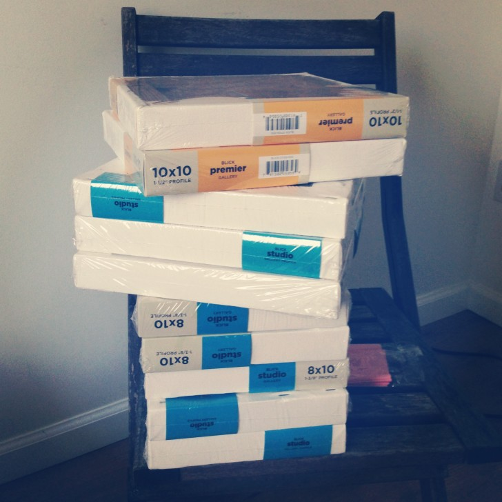 Stack of canvases