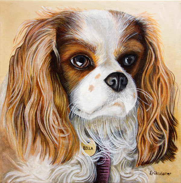 Pet portrait painting of a Cavalier King Charles Spaniel by fine arts painter Erica Eriksdotter