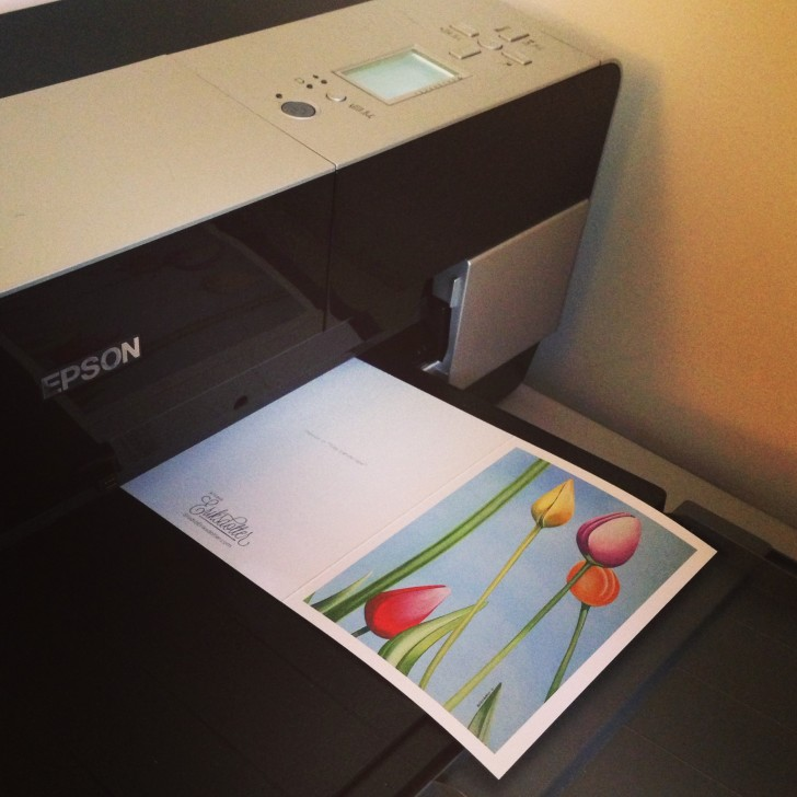 First notecard is printing