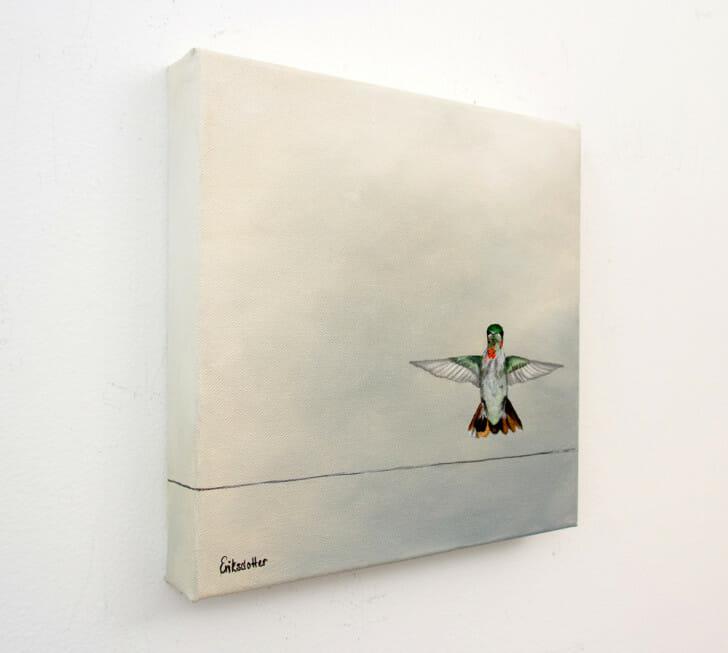 Hummingbird Landing - Spring Art Auction 2013 - original painting, left