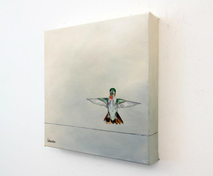 Hummingbird Landing - Spring Art Auction 2013 - original painting, right