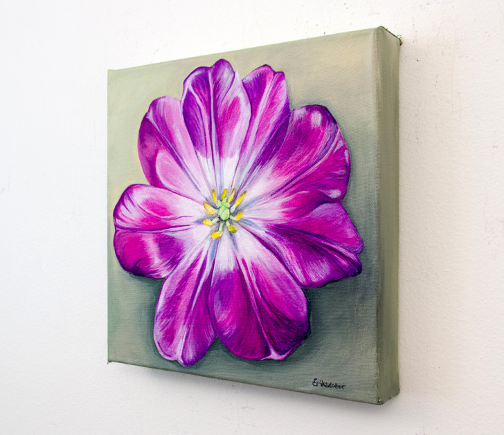 Unfolding Tulip - original painting - Spring Art Auction 2013.