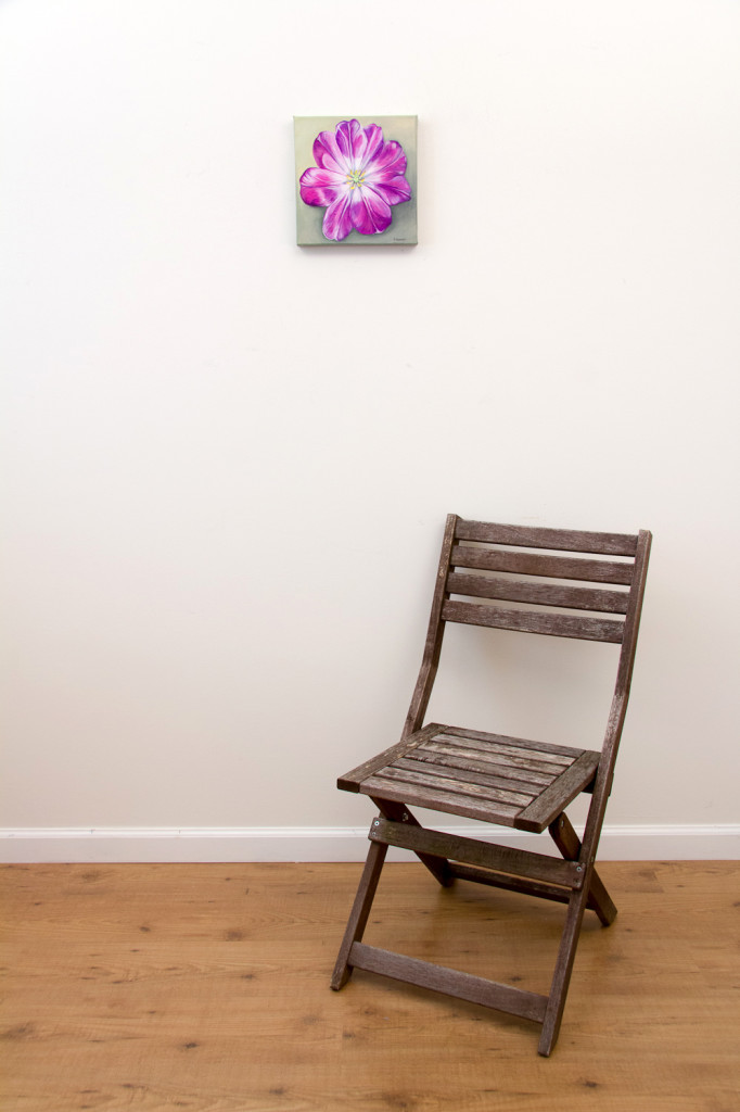 Unfolding Tulip - original painting - Spring Art Auction 2013, with chair