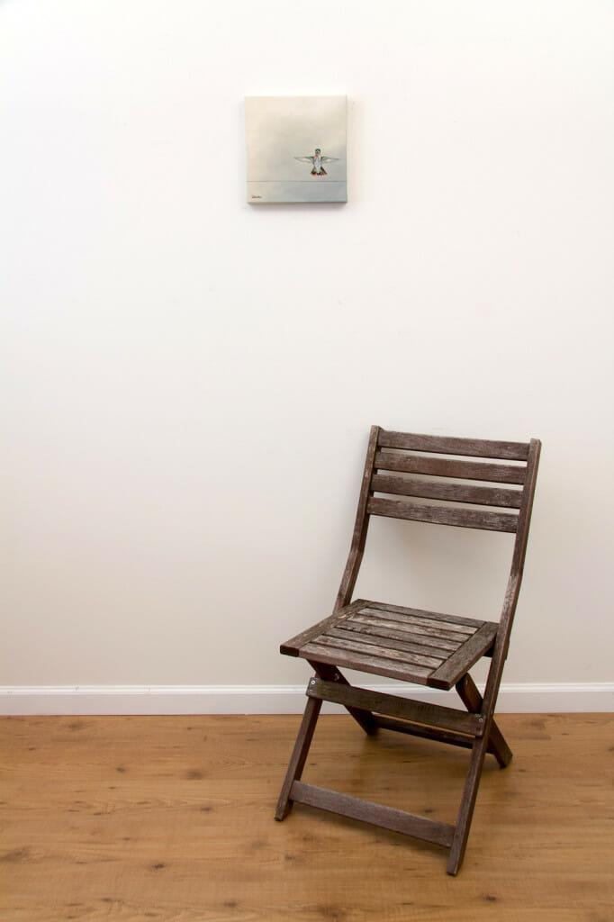 Hummingbird Landing - Spring Art Auction 2013 - original painting, with chair