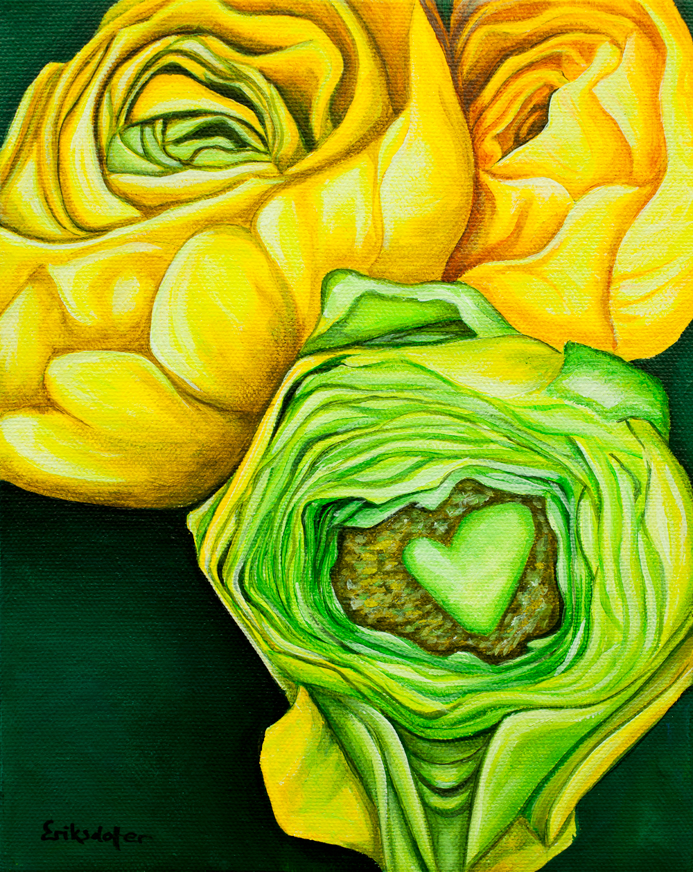 Yellow Ranunculus - Spring Art Auction 2013 - original painting, front