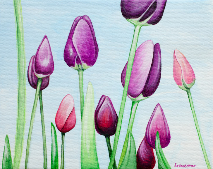 Field of Purple Tulips - Spring Art Auction 2013, front