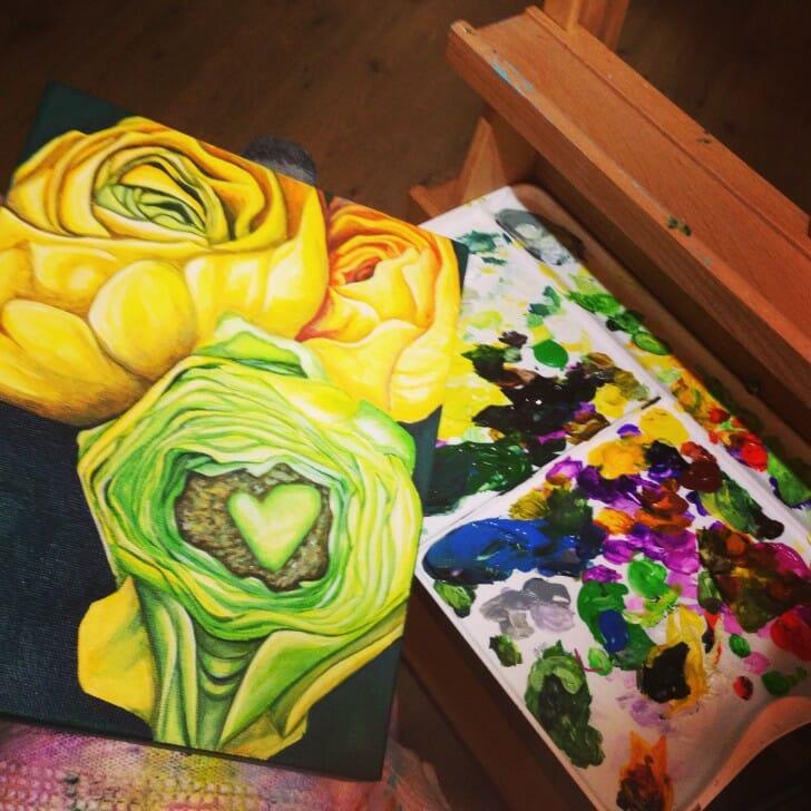 Yellow Ranunculus in progress