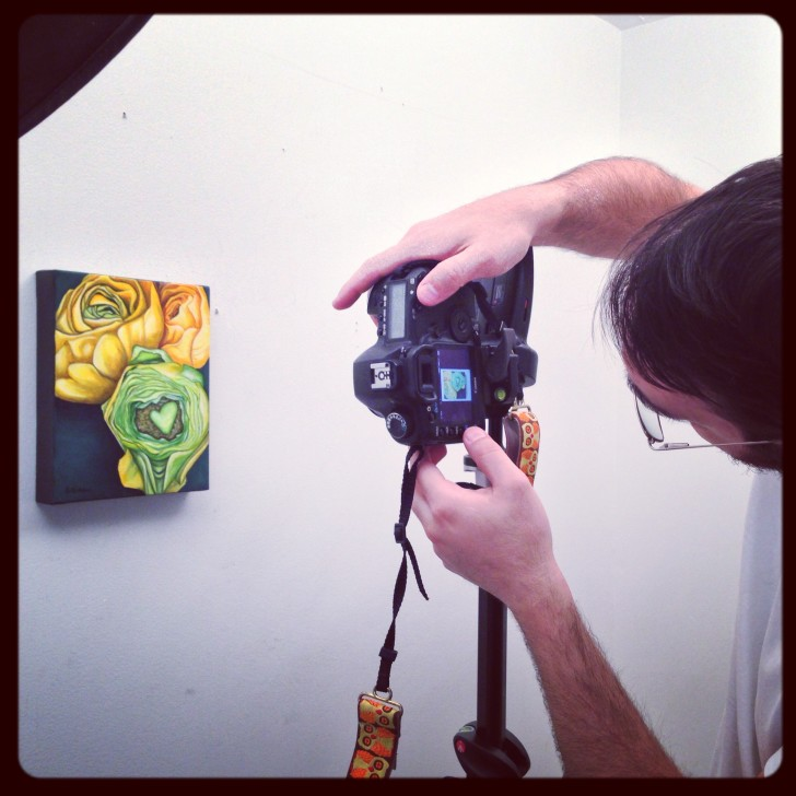 Casey Collings photographing Yellow Ranunculus