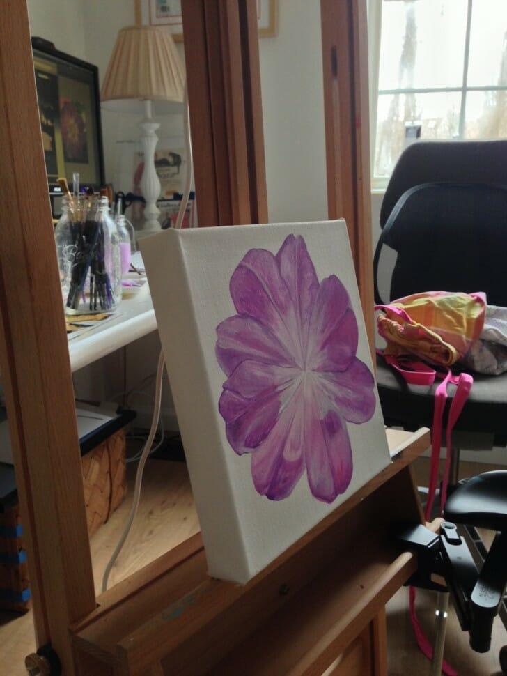 Unfolding Tulip - in progress on the easel