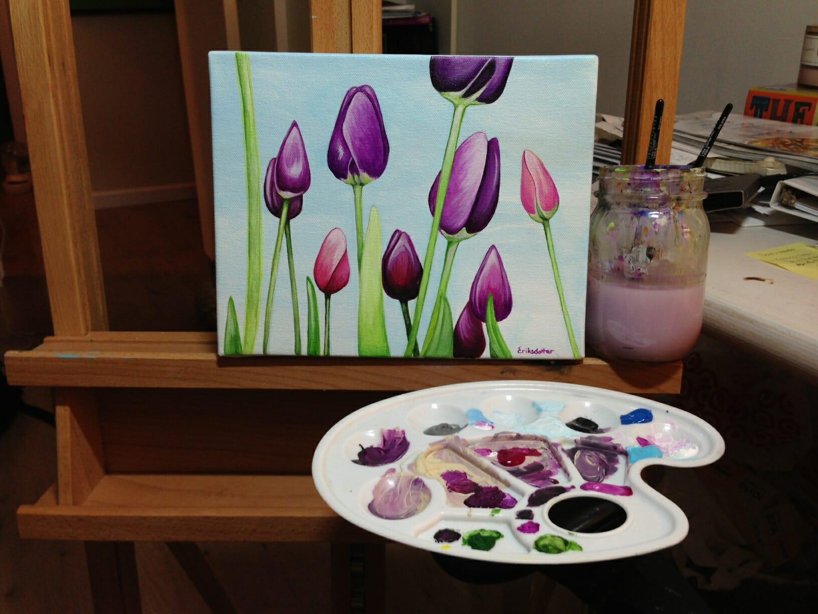 Field of Tulips - in progress on easel