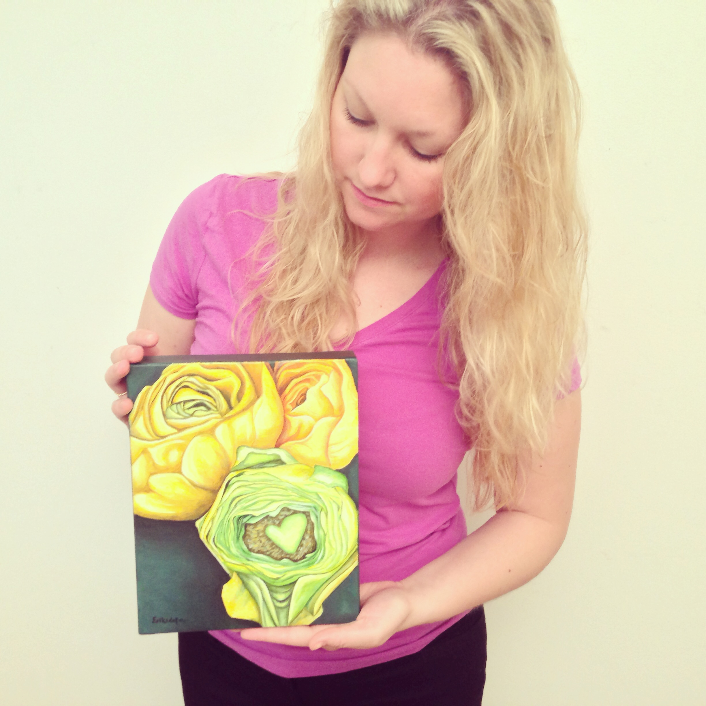 Erica and Yellow Ranunculus - original painting No 1, Spring Art Auction 2013