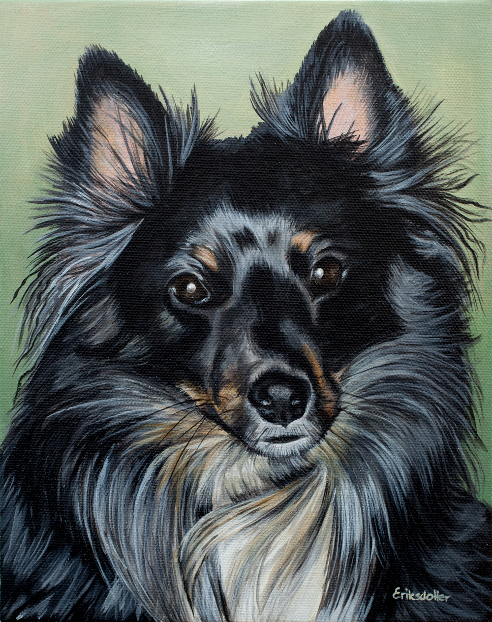 Austin's Pet Portrait - original painting, front closeup