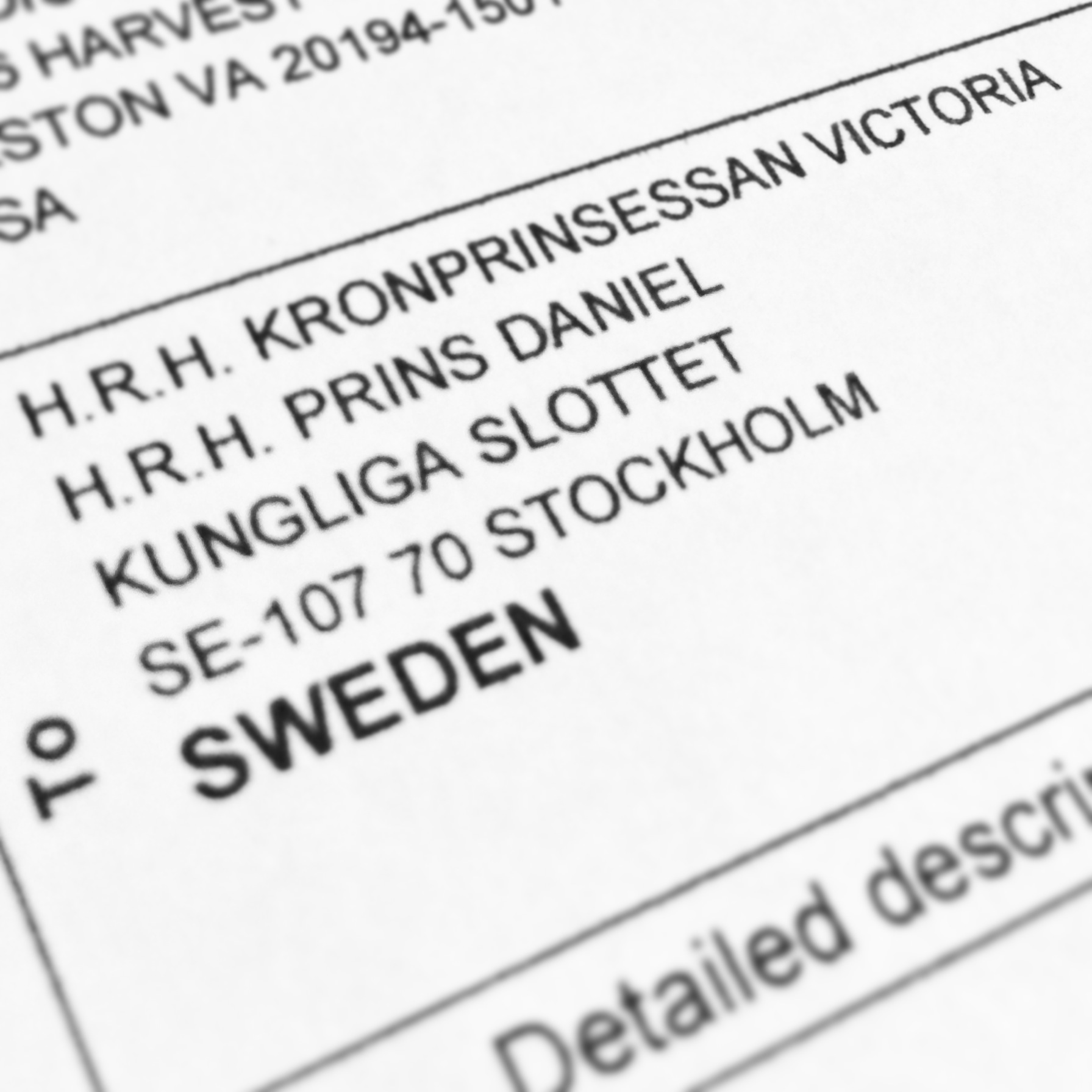 Shipment to the Swedish Royal Court