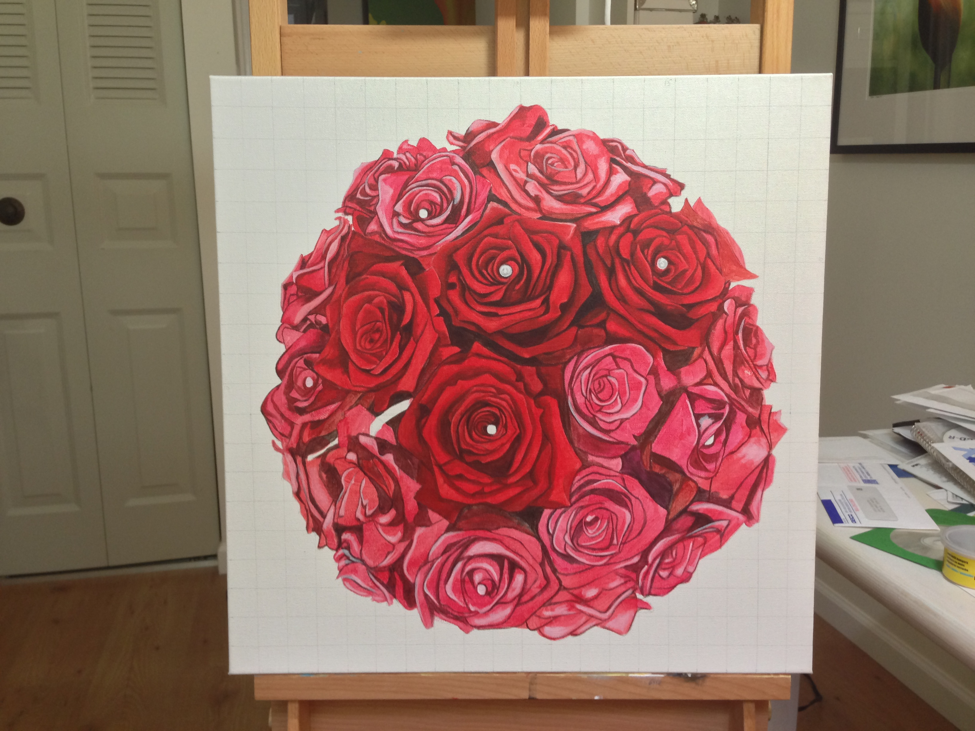 Linn's bridal bouquet painting - original acrylic by Erica Eriksdotter of Studio Eriksdotter. A unique way of preserving your wedding bouquet flowers.