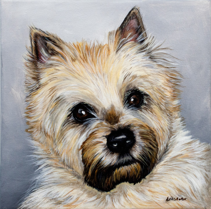 Elsa's Pet Portrait - original painting, front closeup