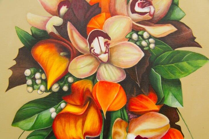 Denise's Bridal Bouquet - original painting by Erica Eriksdotter, details