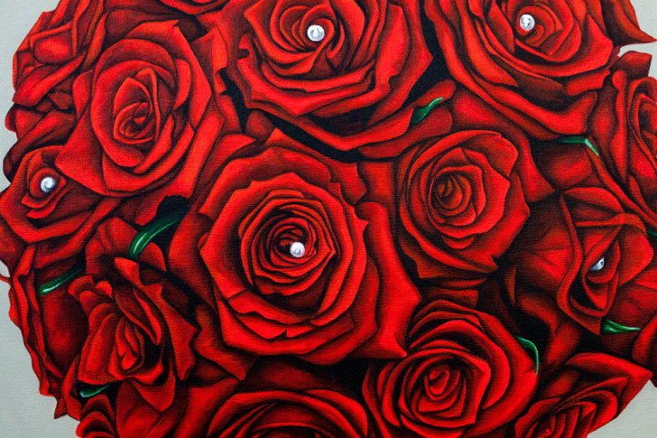 Linn's Bridal Bouquet - original painting by Erica Eriksdotter
