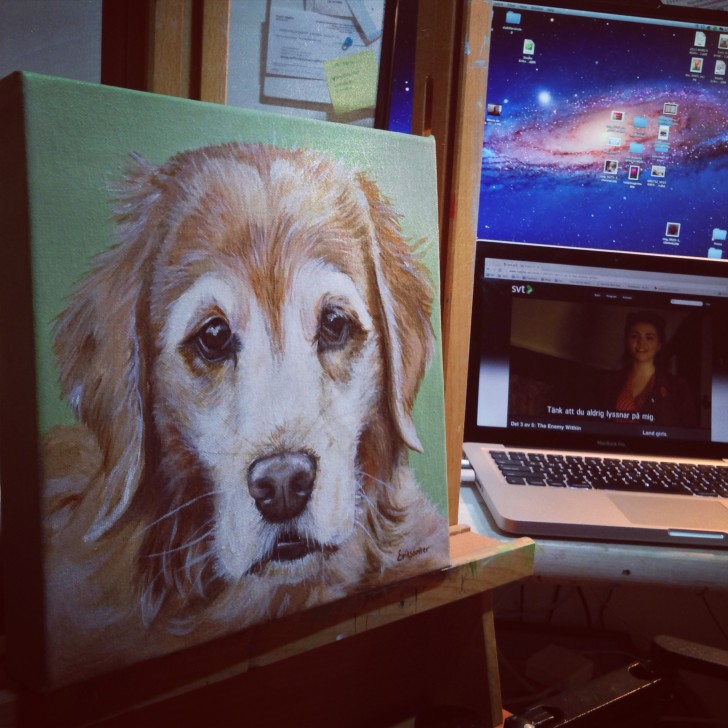 Maggie on the easel