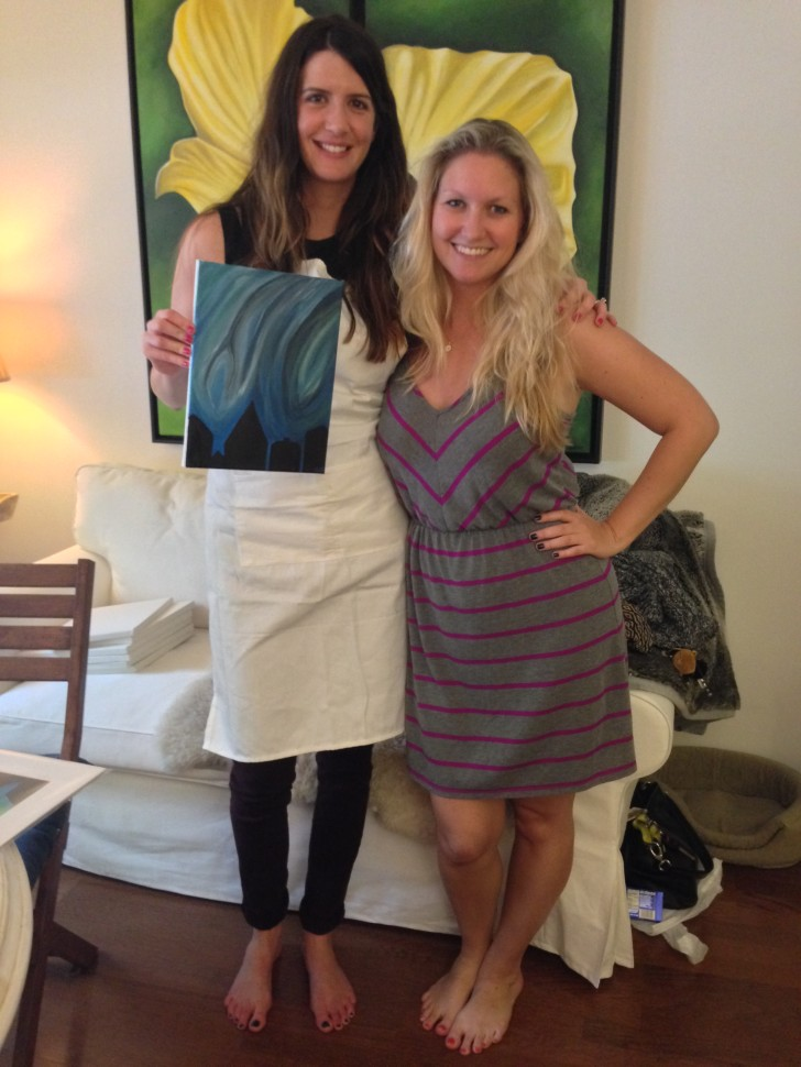 Sara and Erica during Cocktails & Canvases, Painting Event, October 5, 2013