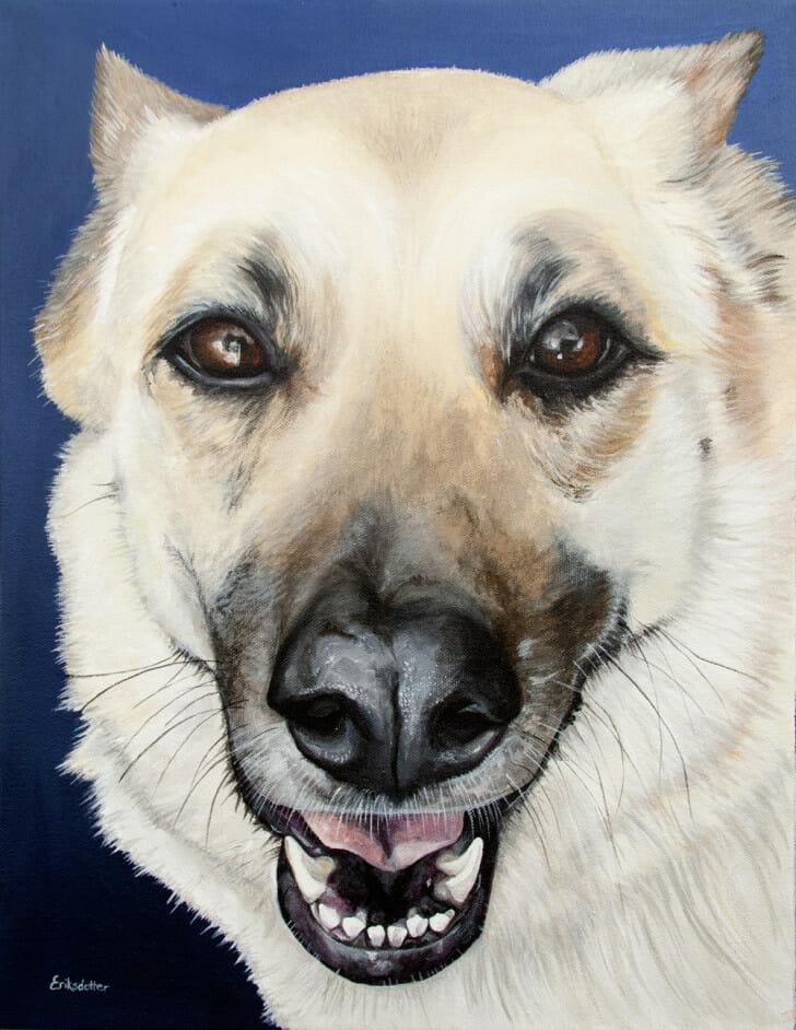 Sasha's Portrait - original pet portrait by Erica Eriksdotter, front