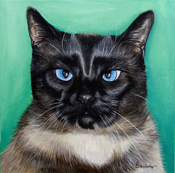 Mr Kitty Cat - original pet portrait by Erica Eriksdotter