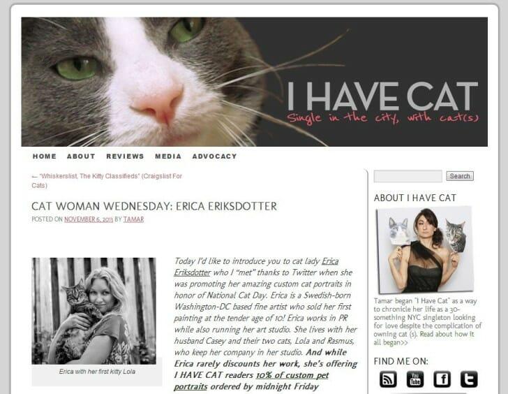 Press Mention - I Have Cat, November 6, 2013