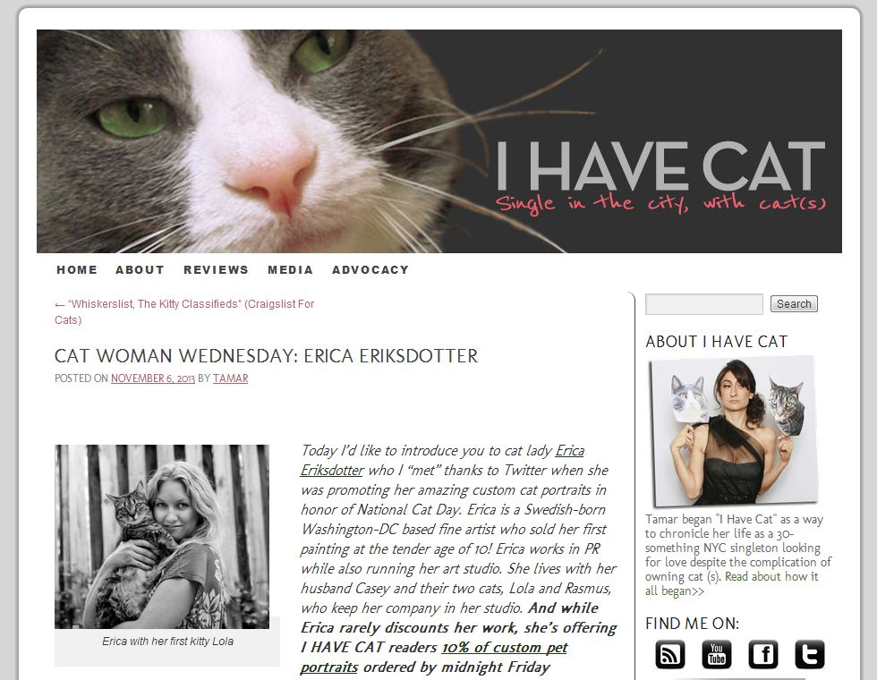 Press Mention - I Have Cat, November 6, 2013