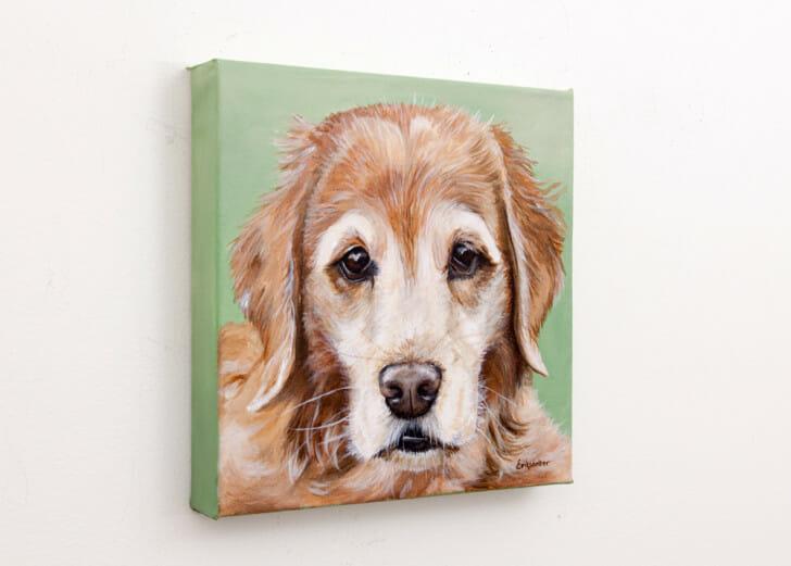 Maggie's Portrait - original acrylic painting by Erica Eriksdotter, left