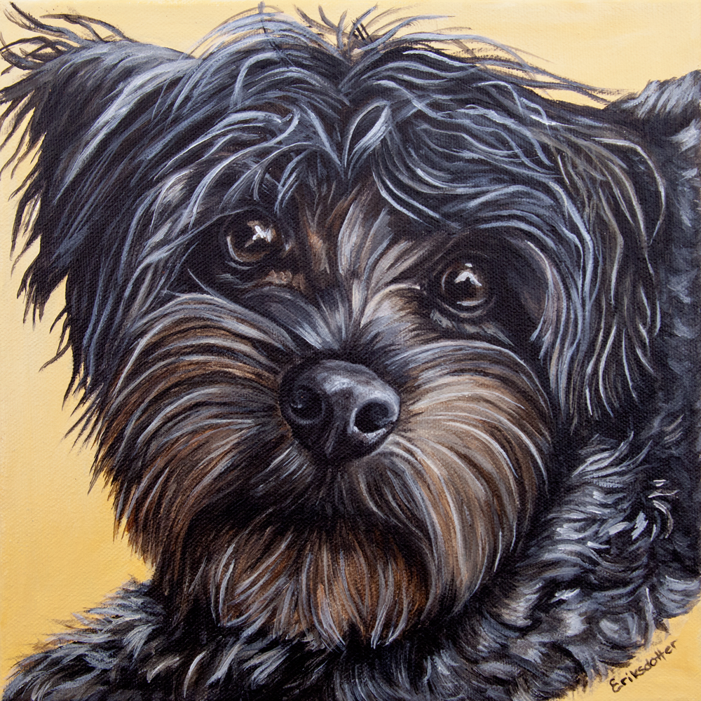 Pet portrait painting by fine arts painter Erica Eriksdotter