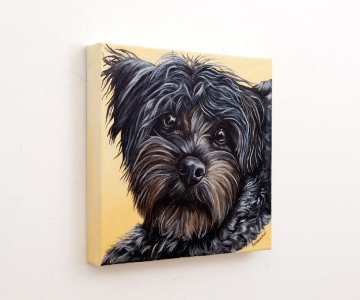 Jax's Portrait - original acrylic painting by Erica Eriksdotter, left