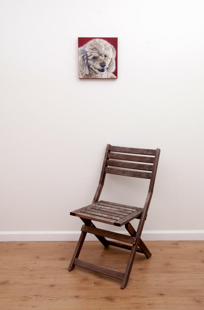 Cocoa's Portrait - Original pet portrait by Erica Eriksdotter, with chair
