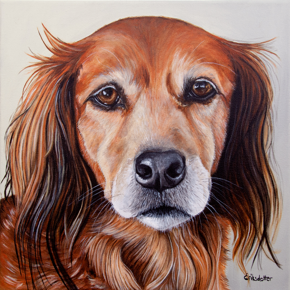 Pet portrait painting of by fine arts painter Erica Eriksdotter