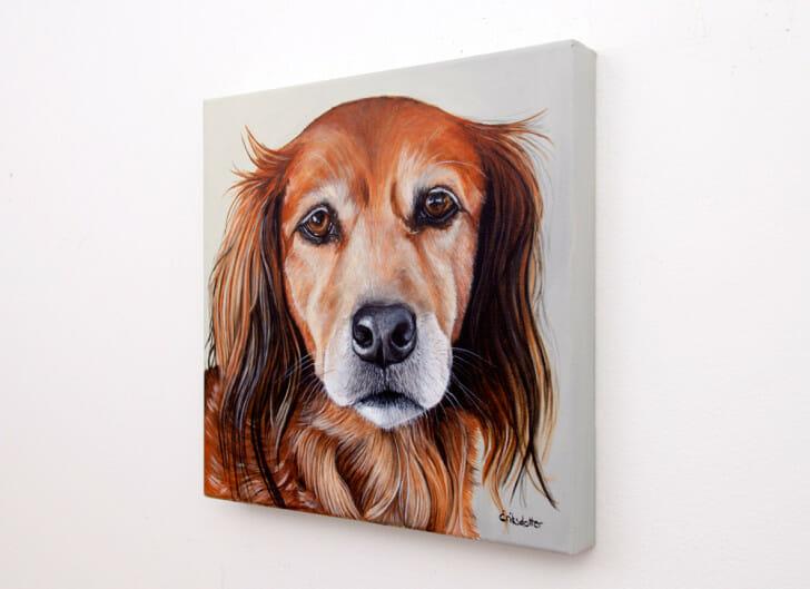 Canela's Portrait - original pet portrait painting by Erica Eriksdotter, right