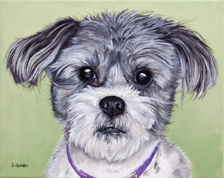 Gadget's Portrait - original pet portrait painting by Erica Eriksdotter