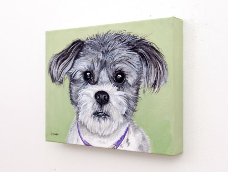 Gadget's Portrait - original pet portrait painting by Erica Eriksdotter, right