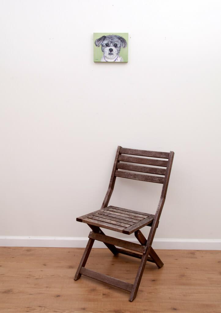 Gadget's Portrait - original pet portrait painting by Erica Eriksdotter, with chair