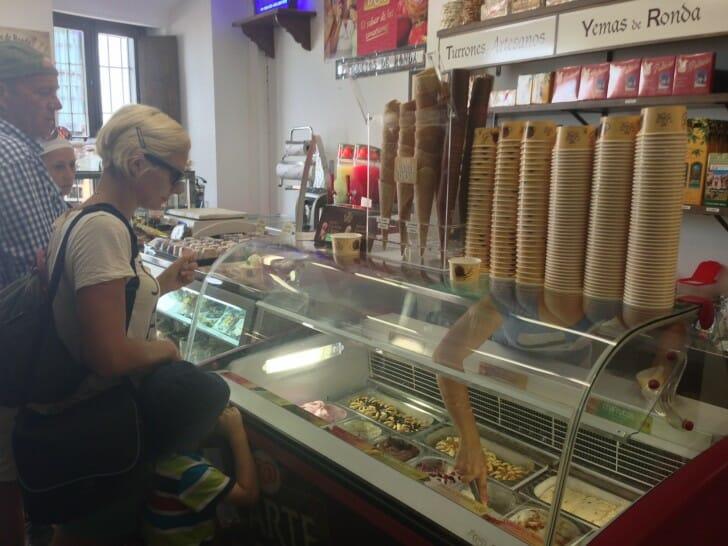 Ice cream shop in Ronda, Spain
