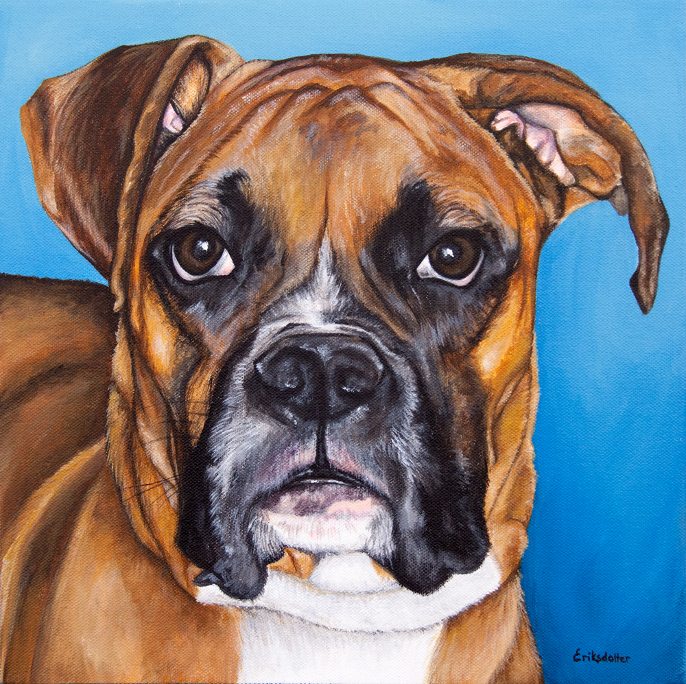 Pet portrait painting of a Boxer by fine arts painter Erica Eriksdotter
