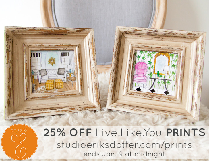 LiveLikeYou Prints - rendering and design by Jill Sorensen and watercoloring by Erica Eriksdotter - 25% OFF