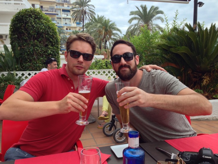 Mathias and Casey down by the water in Marbella, Spain