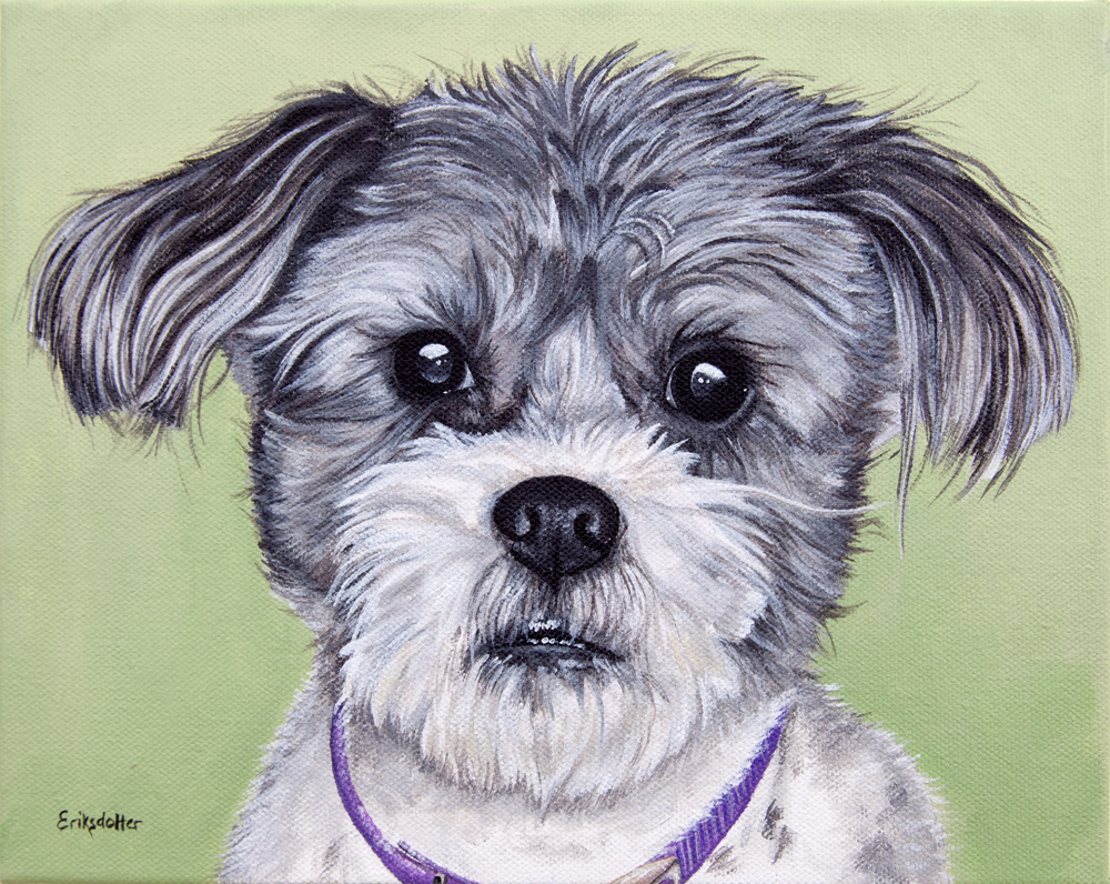 Gadget's Pet Portrait - original painting by Erica Eriksdotter