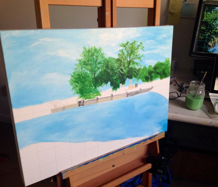 Evans Farm, painting in progress