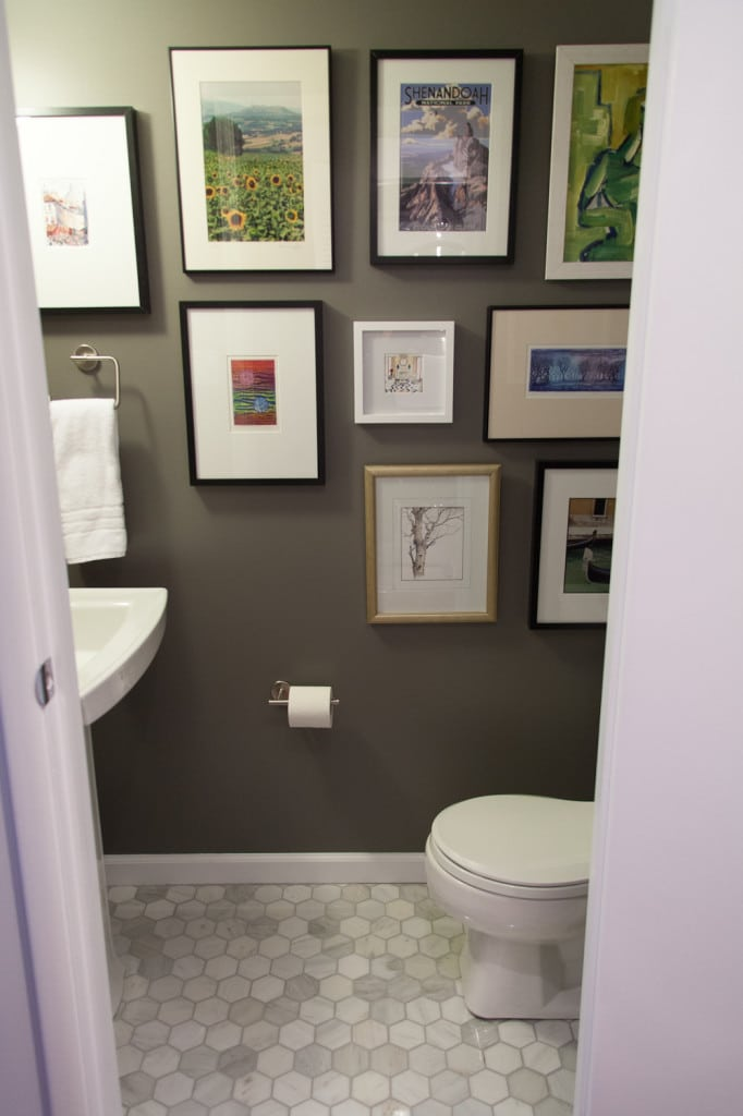 Powder room - After with gallery wall