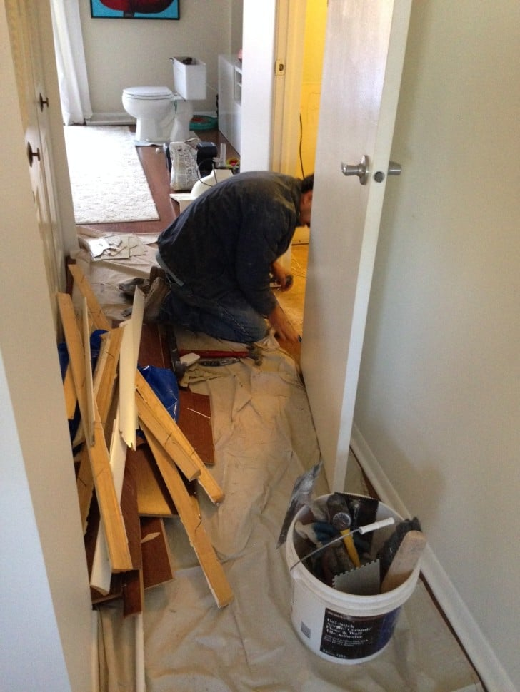 Powder Room renovation - ripping up the floors