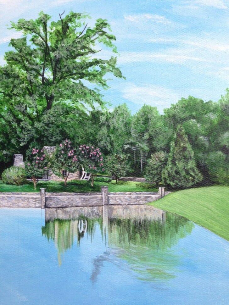 Evans Farm, original acrylic painting by Erica Eriksdotter