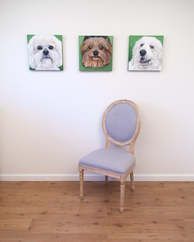 Boomer, Lexie and Sugar Bear - original acrylic paintings by Erica Eriksdotter