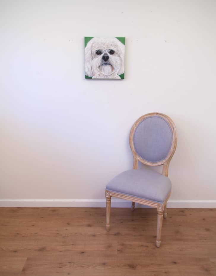 Boomer's Portrait, original acrylic by Erica Eriksdotter, with chair